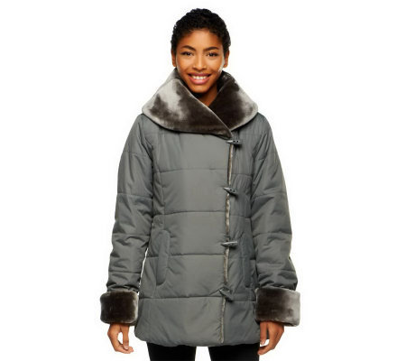 Dennis Basso Shawl Collar Puffer Coat w/ Faux Fur Collar and Cuffs