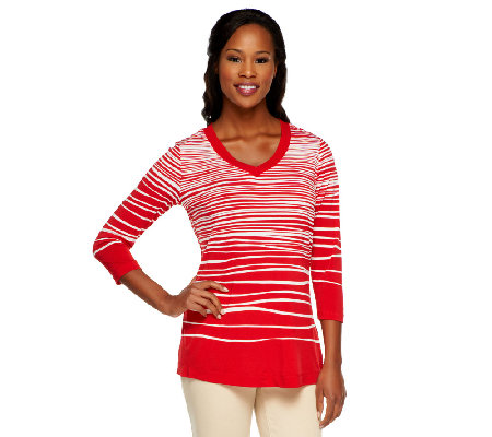 Susan Graver Liquid Knit Printed 3/4 Sleeve V-Neck Top