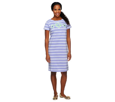 Bob Mackie's Floral Applique Striped Short Sleeve Knit T-Shirt Dress