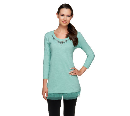 LOGO by Lori Goldstein Knit Top with Jeweled Neckline