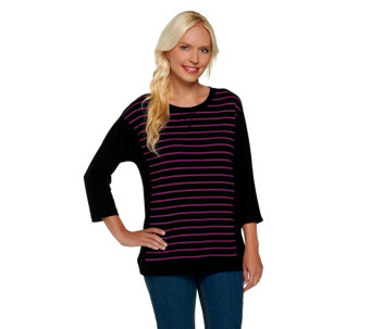 Denim & Co. Active French Terry Striped Sweatshirt - A256320