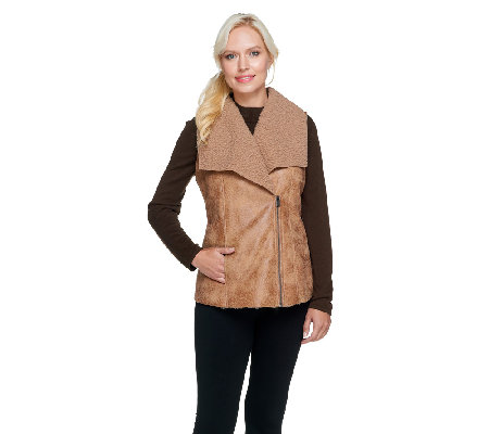 Lisa Rinna Collection Faux Sherling Zip Front Vest