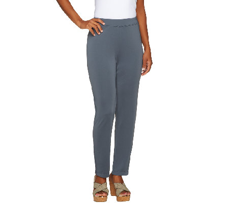 Susan Graver Regular Premier Knit Slim Leg Pull-on Ankle Pants