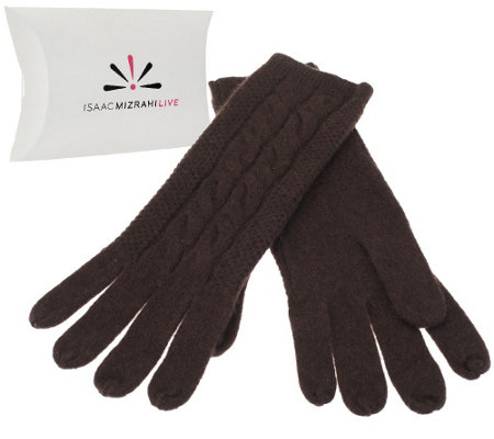 Isaac Mizrahi Live! 2-Ply Cashmere Gloves with Cable Detail