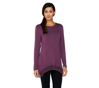 LOGO by Lori Goldstein Knit Top with Lace Trim - A258920