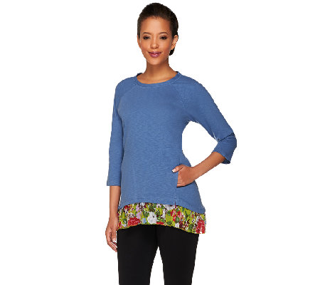 LOGO by Lori Goldstein Cotton Slub Top with Printed Hem
