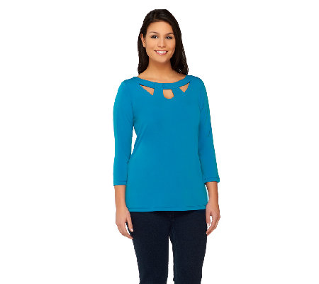 Susan Graver Liquid Knit 3/4 Sleeve Top with Cutout Neckline