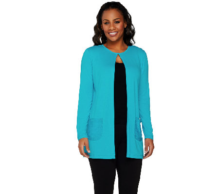 Joan Rivers Jersey Knit Lightweight Cardigan with Sequin Pockets