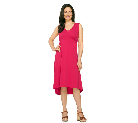 Susan Graver Weekend Cotton Modal Dress with Hi-Low Hem