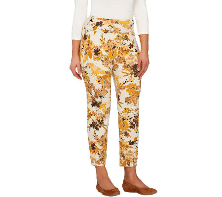 LOGO by Lori Goldstein Floral Print French Terry Crop Pants