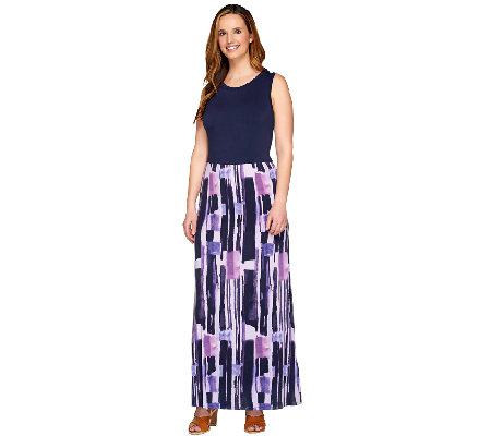 Lisa Rinna Collection Petite Printed Sleeveless Maxi Dress