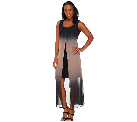 Attitudes by Renee Petite Ombre Chiffon Maxi Dress
