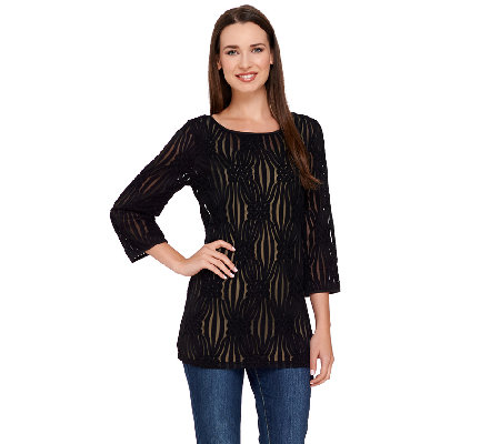 Linea by Louis Dell'Olio Textured 3/4 Sleeve Knit Top