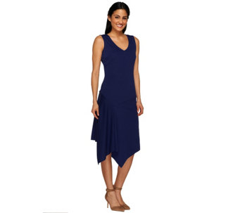 G.I.L.I. Sleeveless Asymmetric Hem Knit Dress with V-neck - A266220