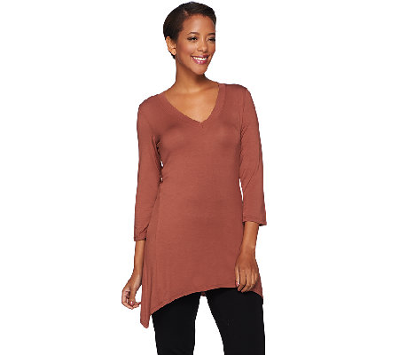 LOGO Layers by Lori Goldstein 3/4 Sleeve V-neck Top with Sharkbite Hem