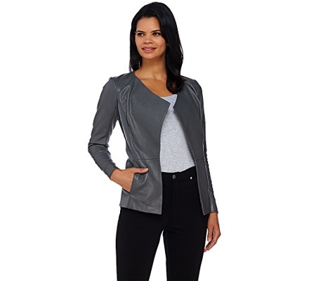 H by Halston Open Front Leather Jacket with Ribbed Panels