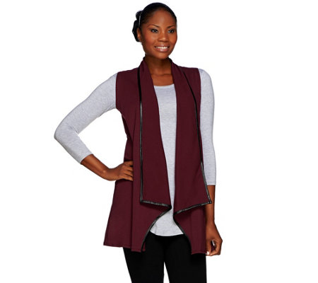 Women with Control Open Front Vest with Faux Leather Trim