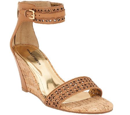 """As Is"" Marc Fisher Perforated Wedge Sandals - Coley"