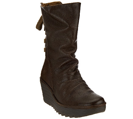 FLY London Leather Lace-up Back Mid-calf Boots - Yada