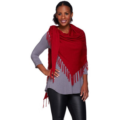 Susan Graver Plush Knit Fringed Scarf