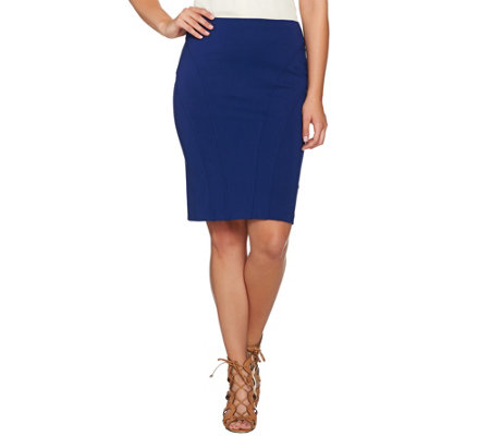 Shape FX Ponte Knit Pencil Skirt with Seam Detail