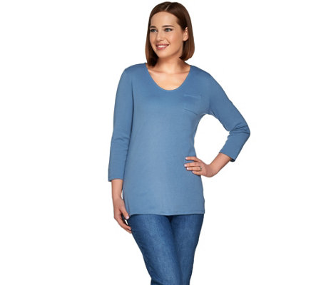 Denim & Co. Essentials 3/4 Sleeve Knit Top with Pocket