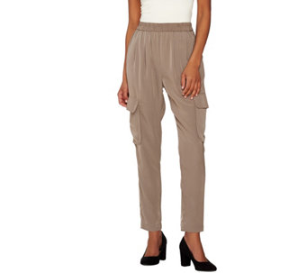 Lisa Rinna Collection Straight Leg Pull-On Cargo Pants - A273520