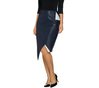 G.I.L.I. Faux Leather Asymmetrical Pointed Skirt - A273620