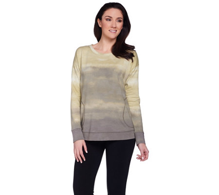 LOGO Lounge by Lori Goldstein French Terry Ombre Printed Top