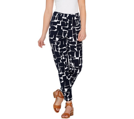 Susan Graver Printed Stretch Woven Comfort Waist Side Zip Ankle Pants