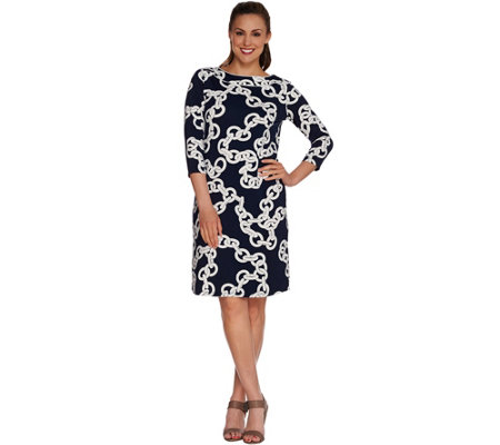 Susan Graver Printed Butterknit Bateau Neck Dress
