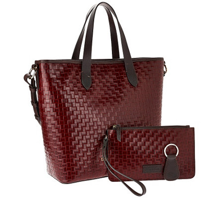 """As Is"" Dooney & Bourke Woven Embossed Leather Shopper"