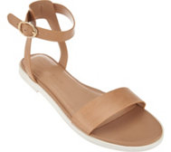 H by Halston Leather Ankle Strap Sandals - Violet