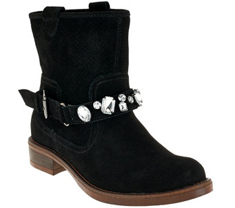 """As Is"" Kensie Suede Ankle Boots w/ Embellished Strap - Squire - A277720"