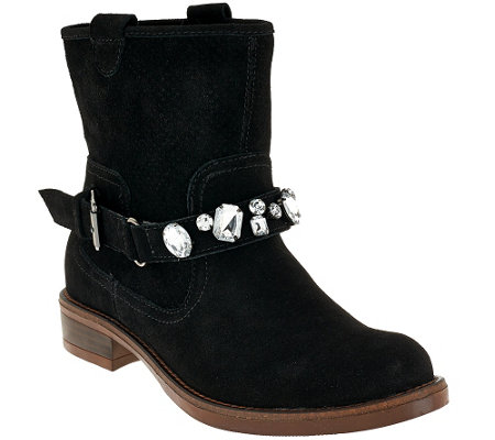 """As Is"" Kensie Suede Ankle Boots w/ Embellished Strap - Squire"