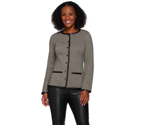"""As Is"" Isaac Mizrahi Live! Quilted Knit Jacket w/ Faux Leather Trim"