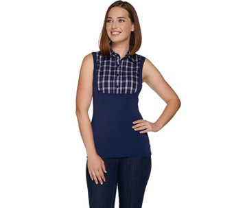 Kathleen Kirkwood Dictrac-Ease Plaid or Stripe Collared Cami - A281920