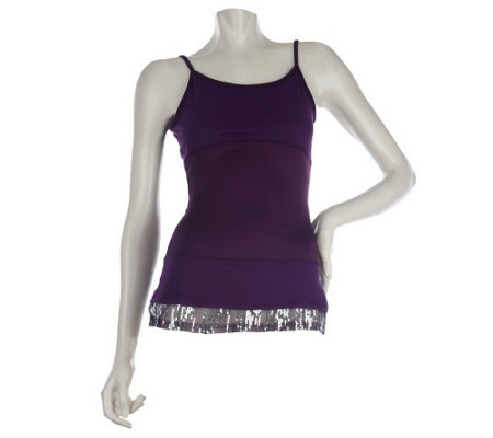 """As Is"" LOGO by Lori Goldstein Layering Tank with Sequin Trim"