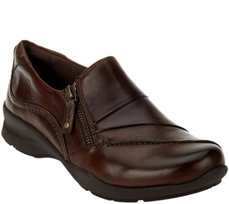 Earth Leather Slip-on Shoes with Side Zip - Anise