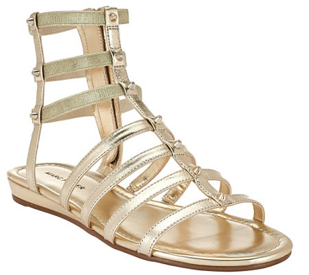 """As Is"" Marc Fisher Leather Gladiator Sandals w/Studs - Pritty"
