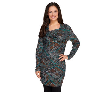 """As Is"" View by Walter Baker Snake Print Drape Neck Knit Tunic - A287220"