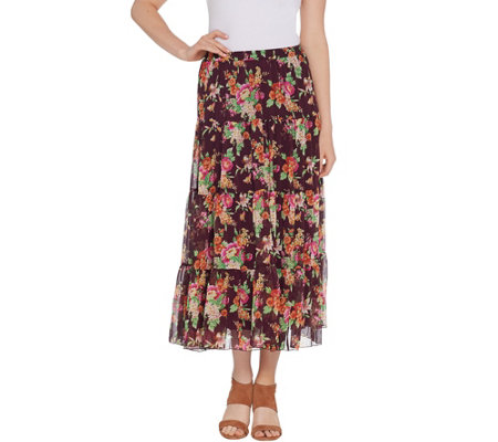 Linea by Louis Dell'Olio Crinkle Floral Print Boho Skirt