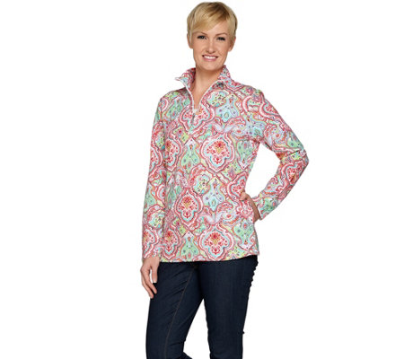 Denim & Co. Active Medallion Print French Terry 1/2 Zip Top