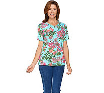 Denim & Co. Short Sleeve Floral Printed Knit Top with Lace Trim - A288720