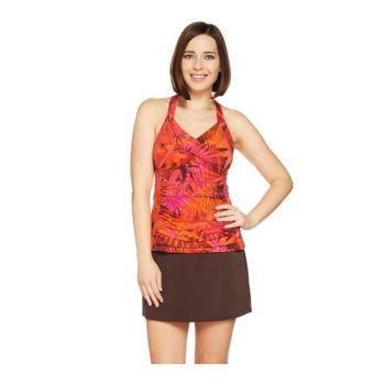 Denim & Co. Beach H-Back Tankini Swimsuit with Skirt
