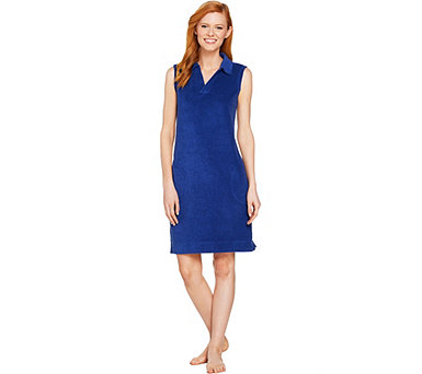 Denim & Co. Beach Knit Terry Y Neck Sleeveless Cover Up Dress - A290120