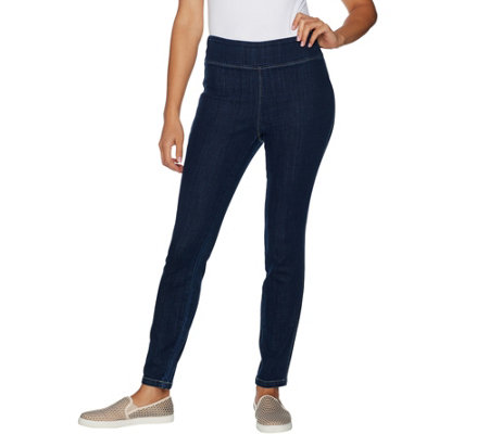 LOGO by Lori Goldstein Denim Pull-On Skinny Ankle Pants