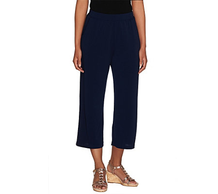 """As Is"" George Simonton Pull- On Crystal Knit Crop Pants with Pockets"