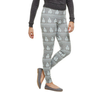 """As Is"" Bethany Mota Pull-On Gnome Jacquard Knit Leggings - A293020"