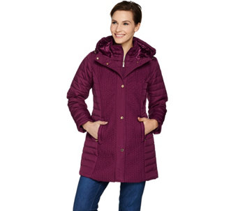 """As Is"" Isaac Mizrahi Live! Chevron Quilted Coat with Hood - A293120"